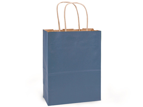 "Dark Blue Recycled Kraft Bags Cub 8x4.75x10.5"", 25 Pack"