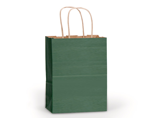 "Hunter Green Recycled Kraft Bags Cub 8x4.75x10.5"", 25 Pack"