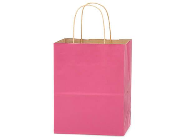 "Lipstick Pink Recycled Kraft Bags Cub 8x4.75x10.5"", 25 Pack"