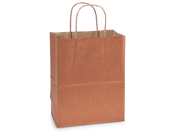 "Metallic Copper Recycled Kraft Bags Cub 8x4.75x10.5"", 25 Pack"