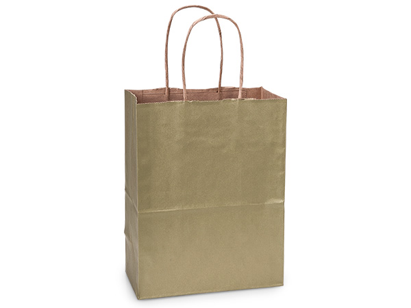 "Metallic Gold Recycled Kraft Bags Cub 8x4.75x10.5"", 25 Pack"