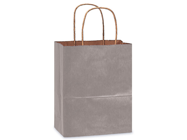"Metallic Silver Recycled Kraft Bags Cub 8x4.75x10.5"", 25 Pack"