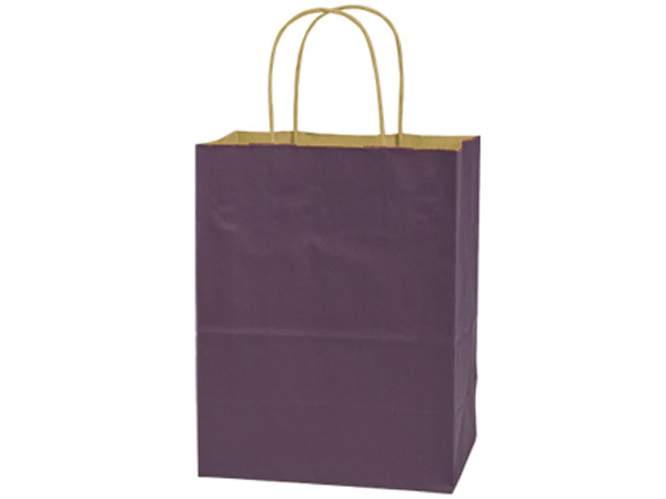 "Purple Recycled Kraft Bags Cub 8x4.75x10.5"", 25 Pack"