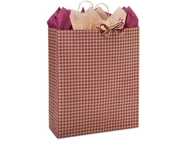 Queen Burgundy Gingham Bags 25 Pk 16x6x19""