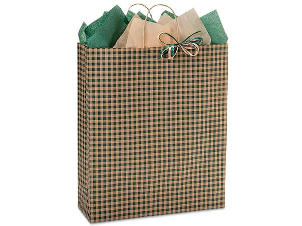 "Hunter Gingham Paper Shopping Bags, Queen 16x6x19"", 25 Pack"