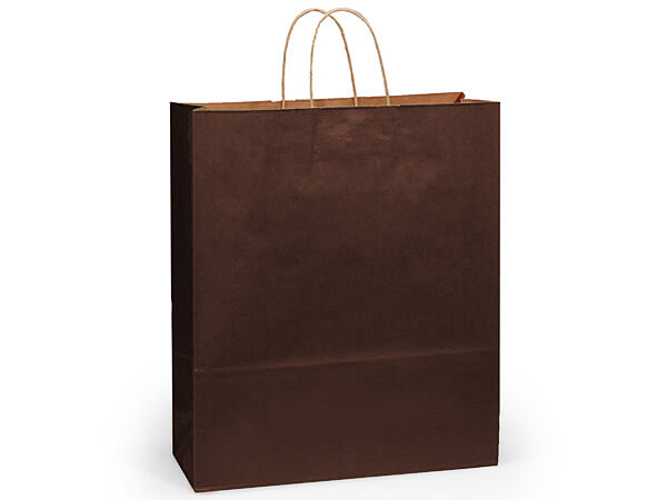"Chocolate Brown Recycled Kraft Bags Queen 16x6x19.25"", 25 Pack"