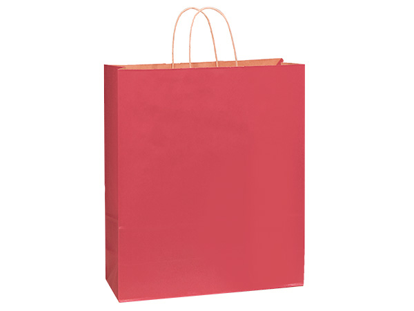 "Christmas Red Recycled Kraft Bags Queen 16x6x19.25"", 25 Pack"