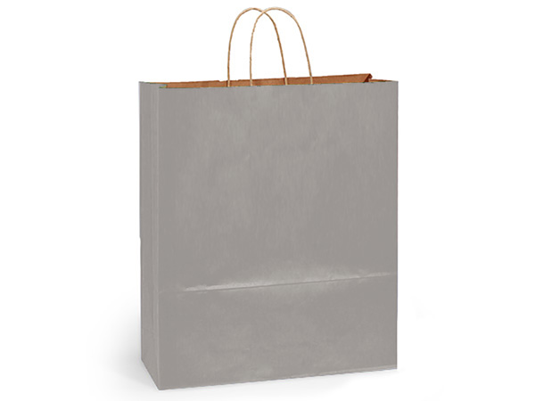 "Metallic Silver Recycled Kraft Bags Queen 16x6x19.25"", 25 Pack"