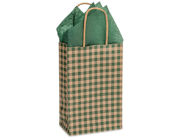 "Hunter Gingham Paper Shopping Bags, Rose 5.5x3.25x8.5"", 25 Pack"