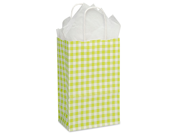 "Apple Green Gingham Paper Shopping Bags, Rose 5.5x3.25x8.5"", 25 Pack"