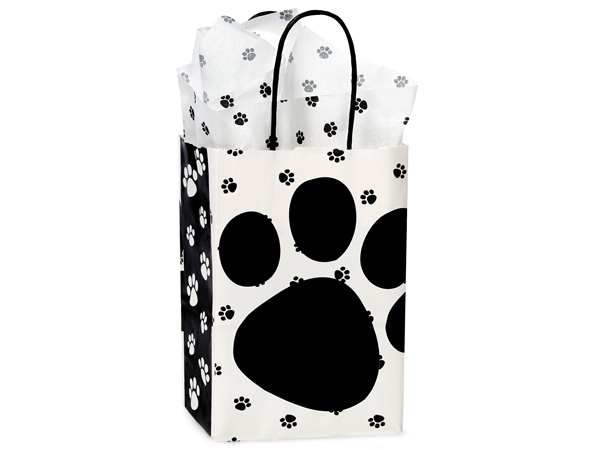 Rose Pooch's Paws Shopping Bags 25 Pk 5-1/4x3-1/2x8-1/4""