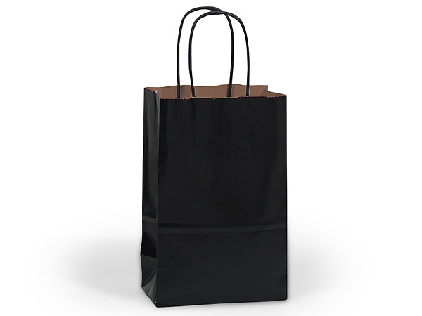 "Black Recycled Kraft Bags Rose 5.5x3.25x8.375"", 25 Pack"