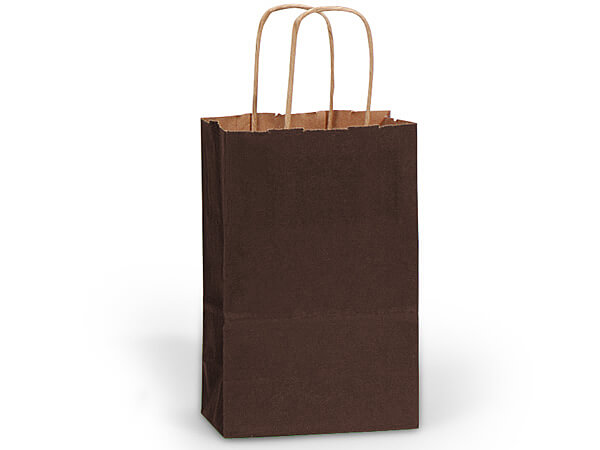 "Chocolate Brown Recycled Kraft Bags Rose 5.5x3.25x8.375"", 25 Pack"