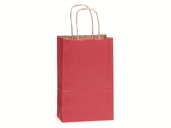 "Christmas Red Recycled Kraft Bags Rose 5.5x3.25x8.375"", 25 Pack"