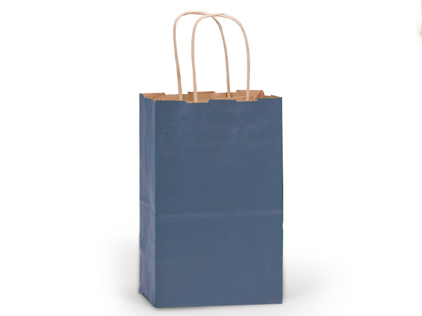 "Dark Blue Recycled Kraft Bags Rose 5.5x3.25x8.375"", 25 Pack"