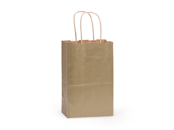 "Metallic Gold Recycled Kraft Bags Rose 5.5x3.25x8.375"", 25 Pack"