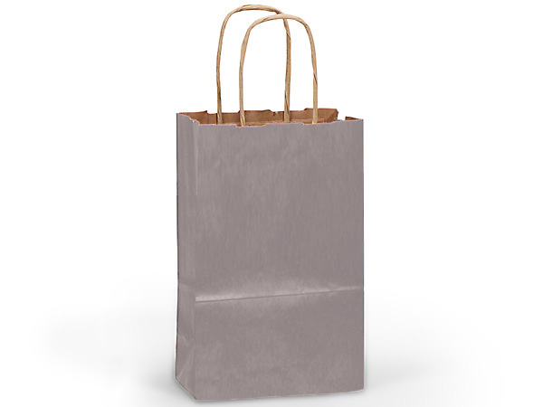 "Metallic Silver Recycled Kraft Bags Rose 5.5x3.25x8.375"", 25 Pack"