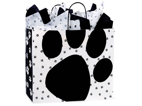 """Pooch's Paws Paper Shopping Bags Vogue 16x6x12.5"""", 25 Pack"""
