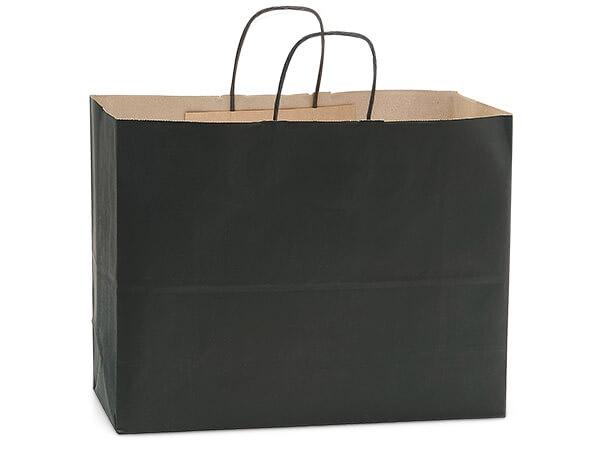 "Black Recycled Kraft Bags Vogue 16x6x13"", 25 Pack"