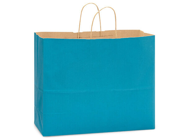"Caribbean Blue Recycled Kraft Bags Vogue 16x6x13"", 25 Pack"