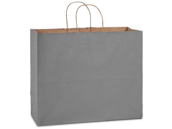 "Charcoal Gray Recycled Kraft Bags Vogue 16x6x13"", 25 Pack"
