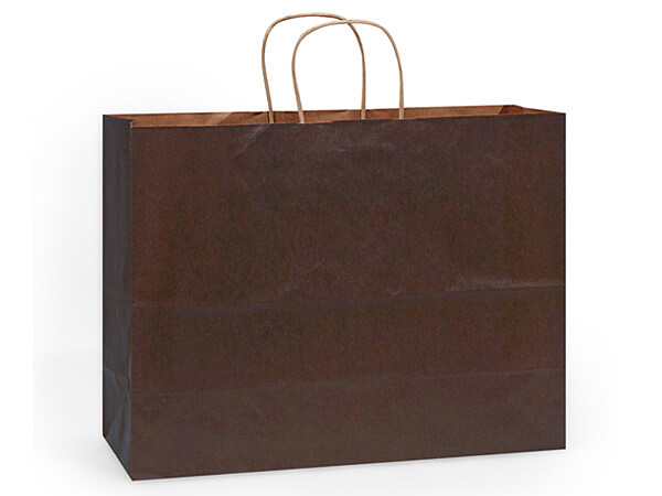 """Chocolate Brown Recycled Kraft Bags Vogue 16x6x13"""", 25 Pack"""