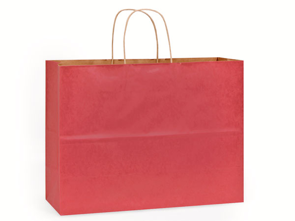 "Christmas Red Recycled Kraft Bags Vogue 16x6x13"", 25 Pack"