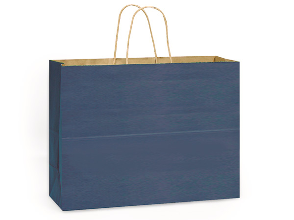 "Dark Blue Recycled Kraft Bags Vogue 16x6x13"", 25 Pack"