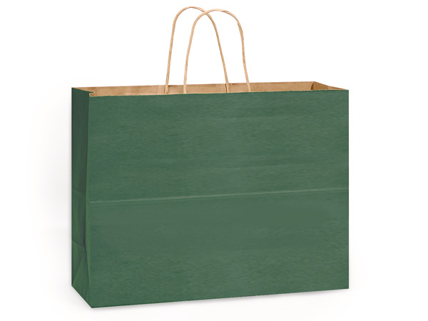 "Hunter Green Recycled Kraft Bags Vogue 16x6x13"", 25 Pack"