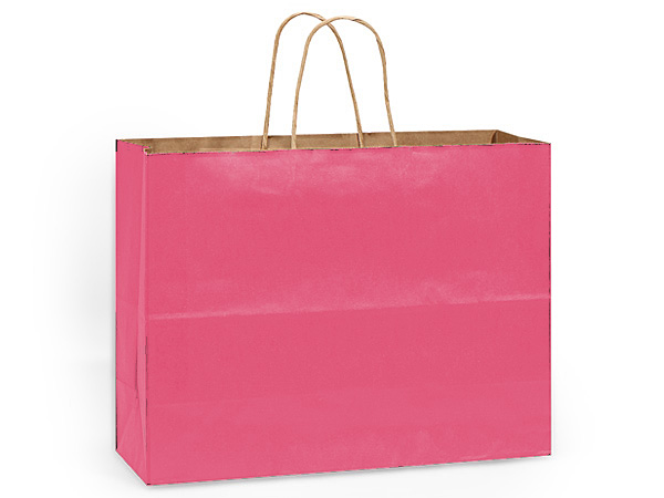 """Lipstick Pink Recycled Kraft Bags Vogue 16x6x13"""", 25 Pack"""