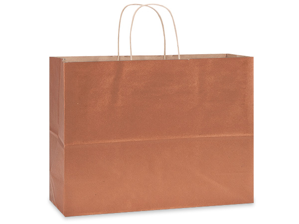 "Metallic Copper Recycled Kraft Bags Vogue 16x6x13"", 25 Pack"