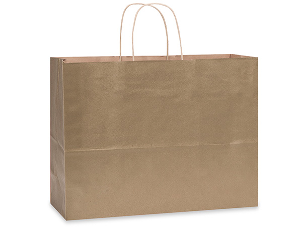 "Metallic Gold Recycled Kraft Bags Vogue 16x6x13"", 25 Pack"