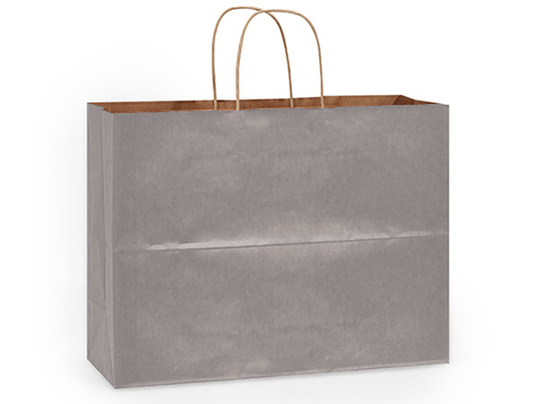Vogue Metallic Silver Kraft Bags 25 Pk 16x6x13""