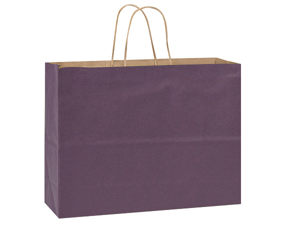 Vogue Purple Recycled Kraft Bags 25 Pk 16x6x13""