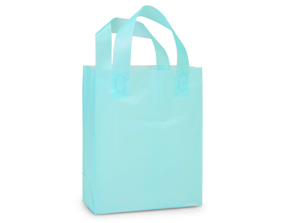 """Aqua Blue Plastic Gift Bags, Cub 8x4x10"""", 25 Pack, 3 mil"""
