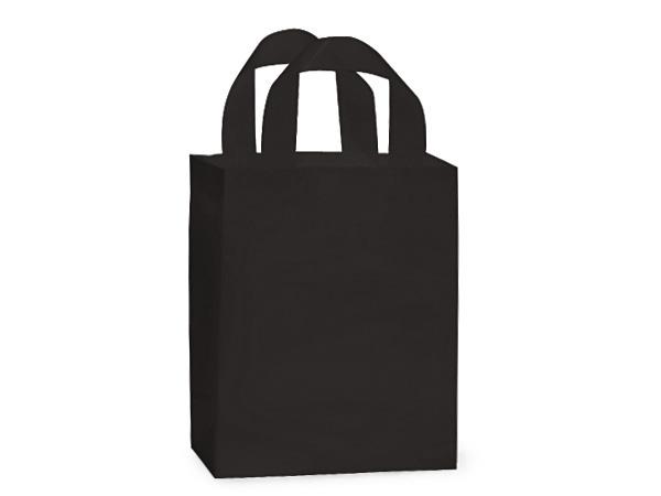 "Black Plastic Gift Bags, Cub 8x4x10"", 25 Pack, 3 mil"