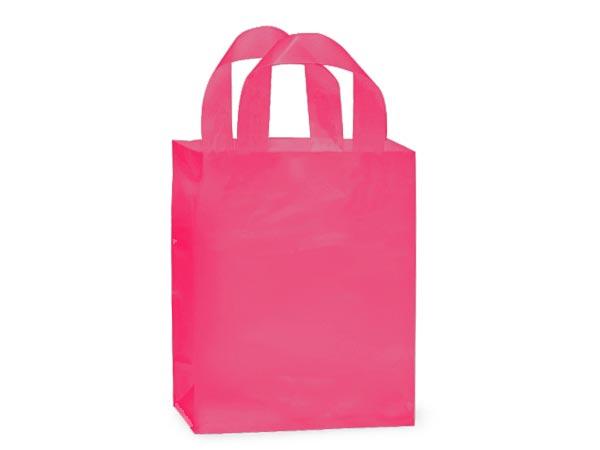 "Blazing Pink Plastic Gift Bags, Cub 8x4x10"", 25 Pack, 3 mil"