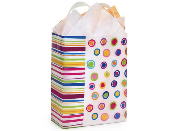 """Rainbow Spots Plastic Gift Bags, Cub 8x4x10"""", 25 Pack, 3 mil"""