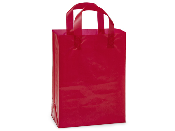 """Red Plastic Gift Bags, Cub 8x4x10"""", 25 Pack"""