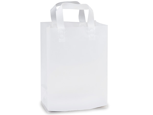 "Clear Frosted Plastic Gift Bags, Carrier 9x5x12"", 25 Pack"