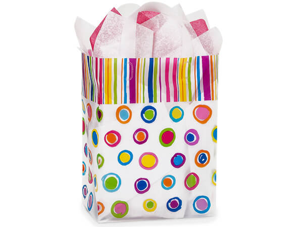 "Rainbow Spots Plastic Gift Bags, Carrier 9x5x12"", 25 Pack"