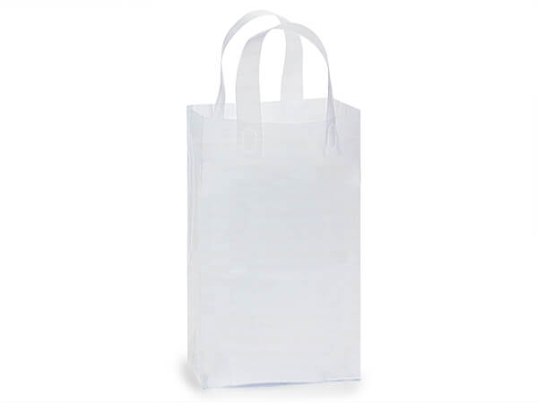 "Clear Frosted Plastic Gift Bags, Debbie 8x6x14"", 25 Pack, 3 mil"