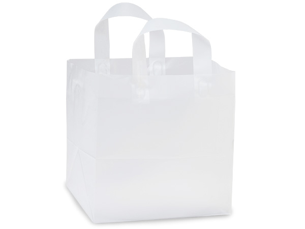 """Clear Frosted Plastic Gift Bags, Hobo 10x8x10"""", 25 Pack, 3 mil"""