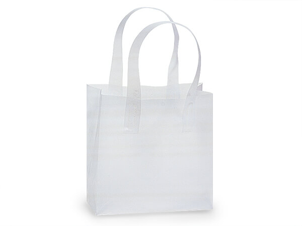 "Clear Frosted Plastic Gift Bags, Junior Cub 6x3x6"", 25 Pack"