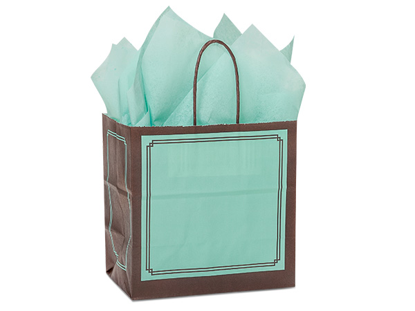 "Aqua & Chocolate Duets Bags Junior 8x5x8"", 25 Pack"