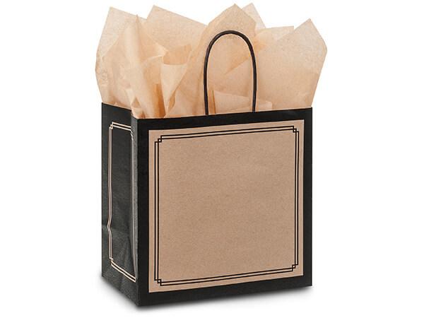 "Black & Kraft Duets Shopping Bags Junior 8x5x8"", 25 Pack"