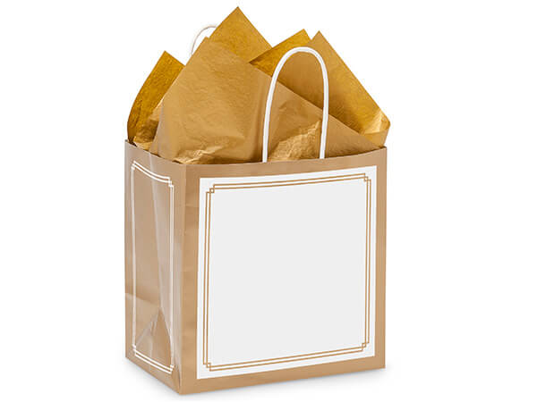 "Junior Gold & White Duets Bags 25 Pk 8x5x8"""