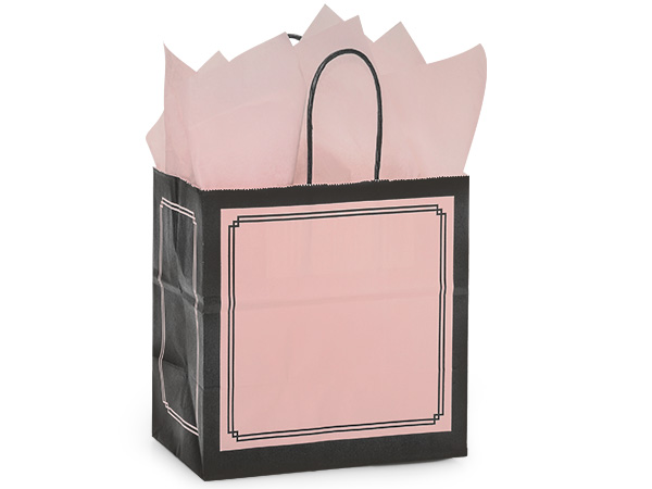 """Pink & Black Duets Shopping Bags Junior 8x5x8"""", 25 Pack"""