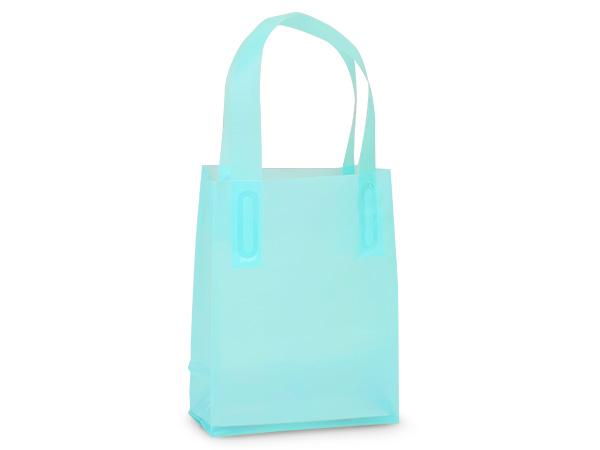 "Aqua Blue Plastic Gift Bags, Jewel 4x2x5"", 25 Pack, 3 mil"