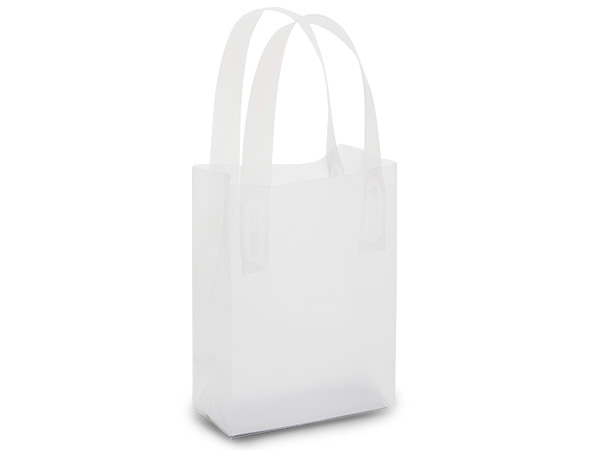 "Clear Frosted Plastic Gift Bags, Jewel 4x2x5"", 25 Pack, 3 mil"